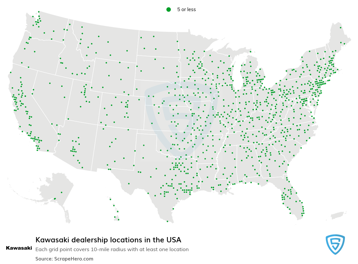 Kawasaki Dealership locations in the USA