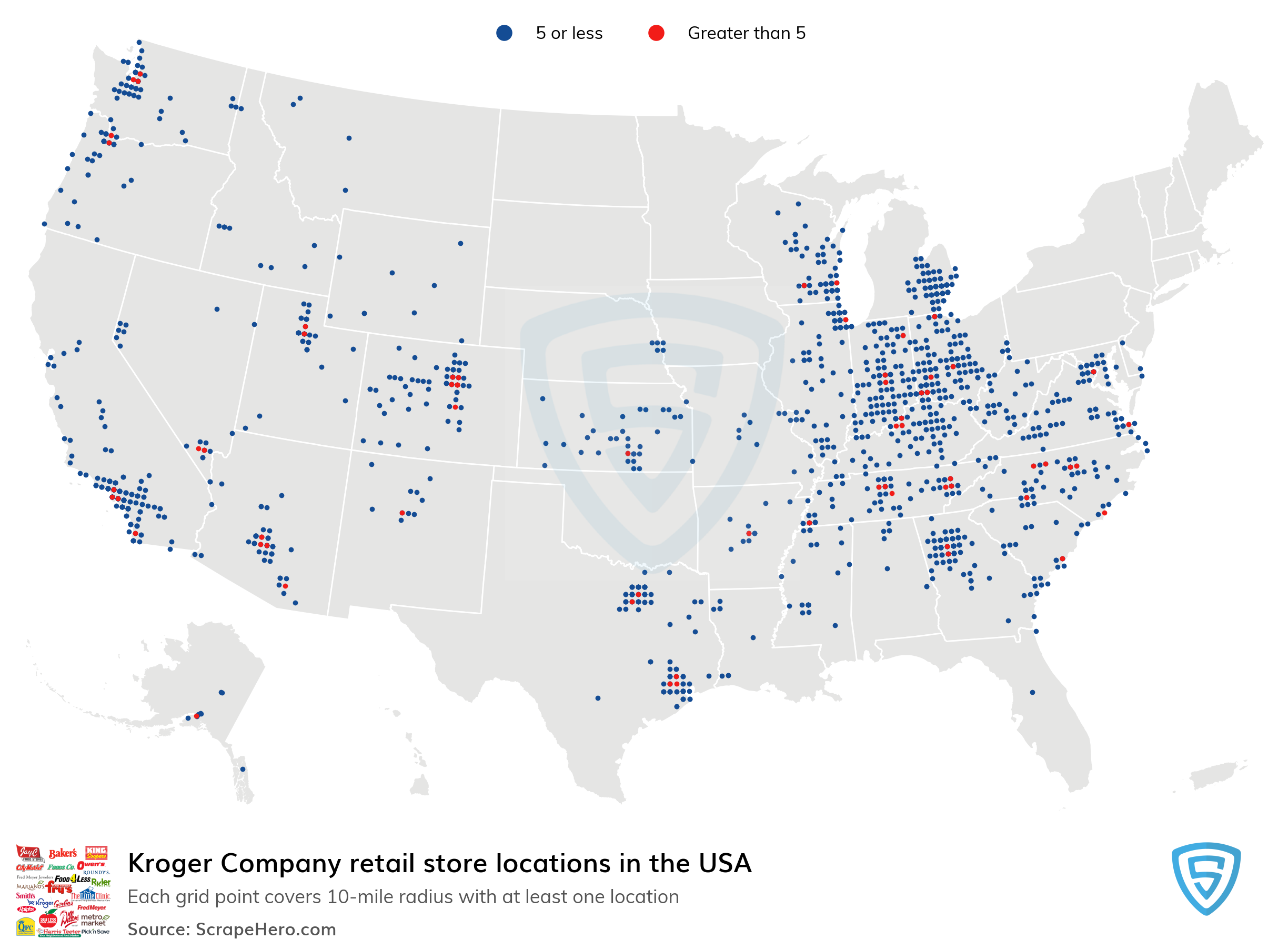Map of Kroger Company locations in the United States in 2021