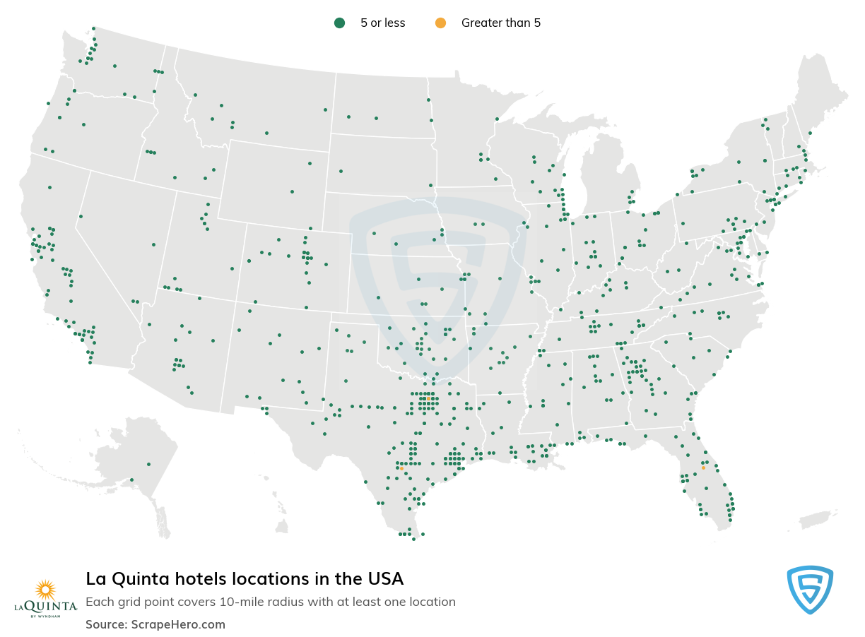 La Quinta Hotels locations in the USA