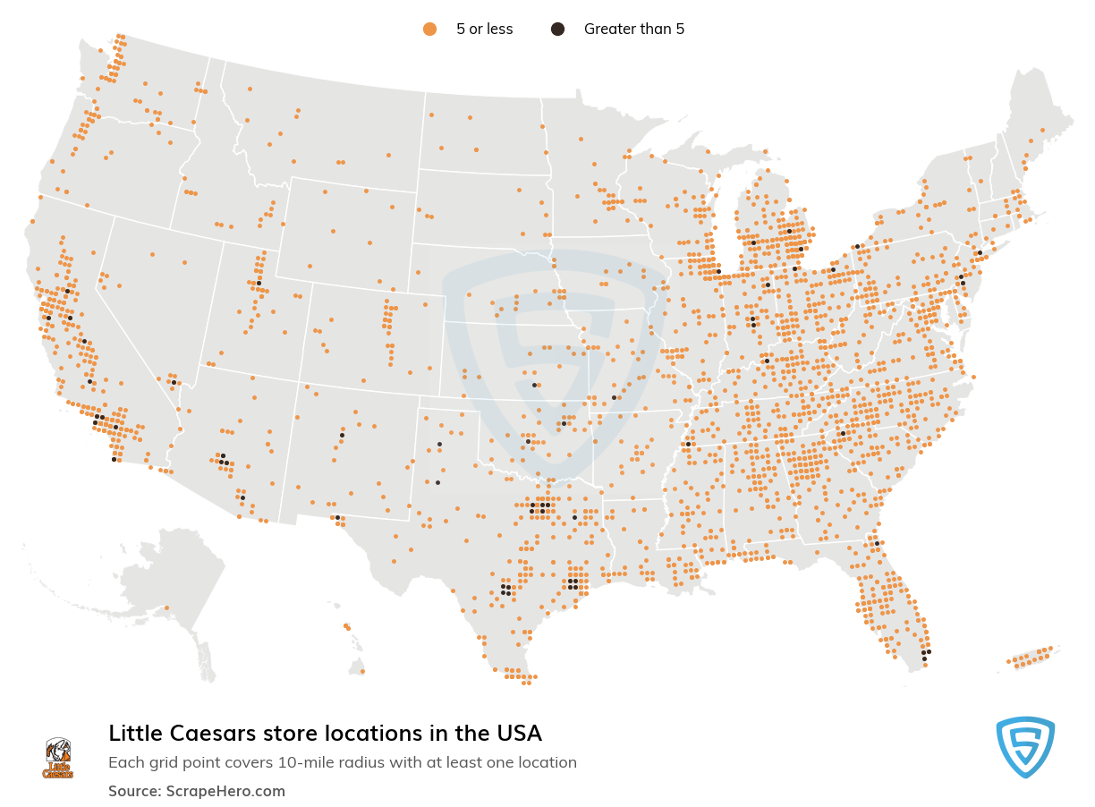 Little Caesars Store locations in the USA