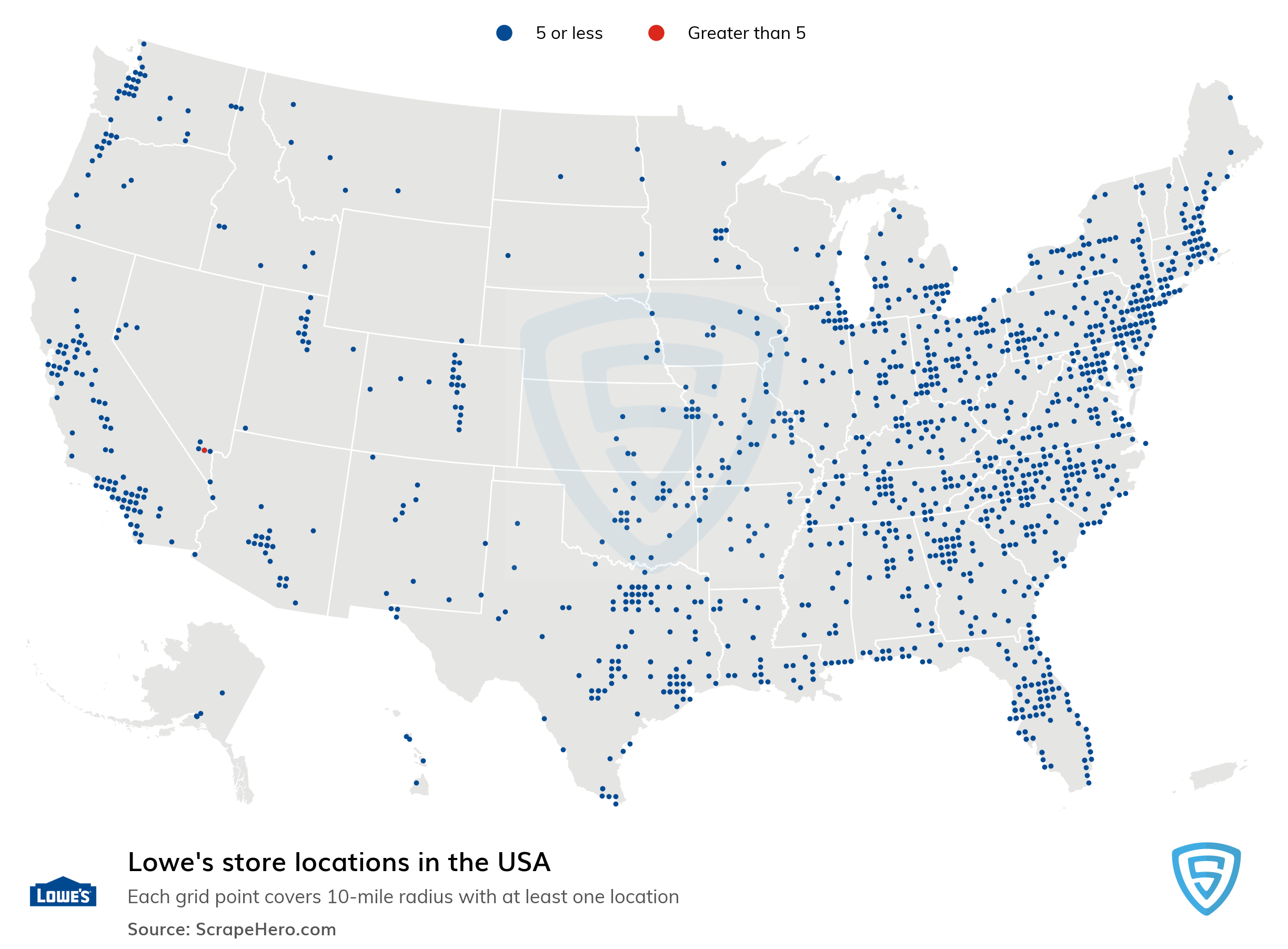 Map of Lowe's locations in the United States in 2021