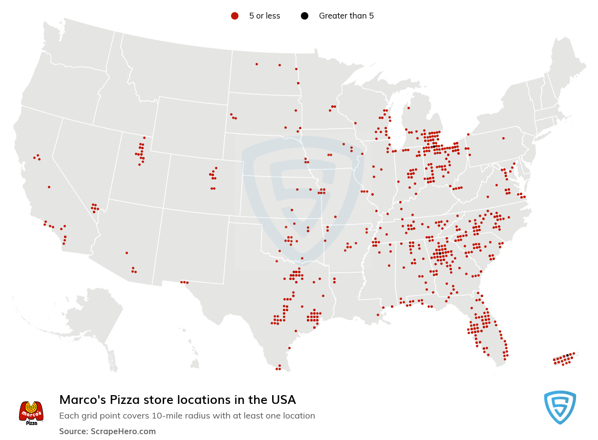 Marco's Pizza Store locations in the USA