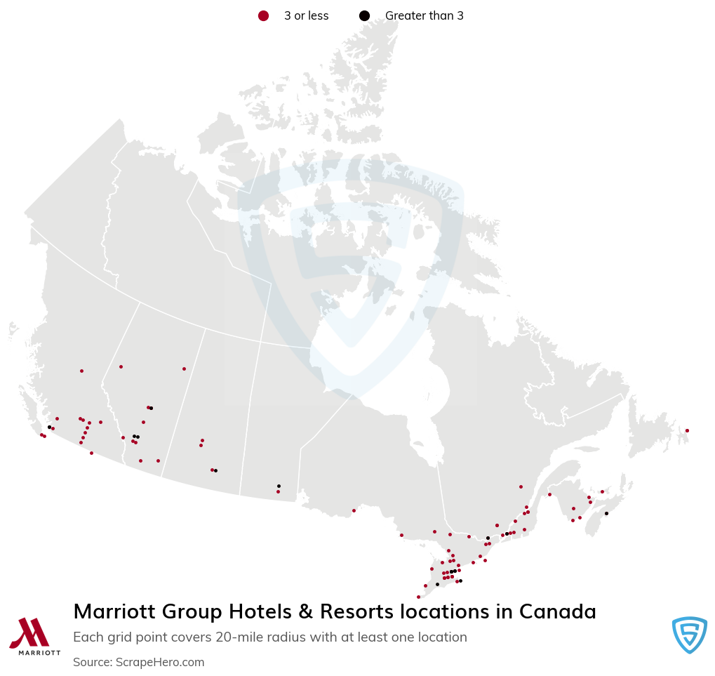 Marriott Group Hotels & Resorts locations in the Canada