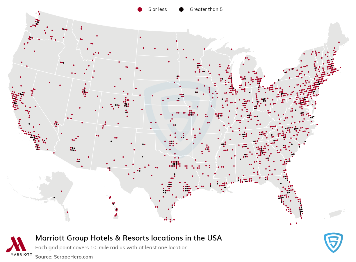 Marriott Group Hotels & Resorts locations in the USA