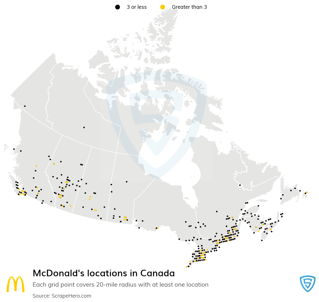 McDonald's Store locations in the Canada