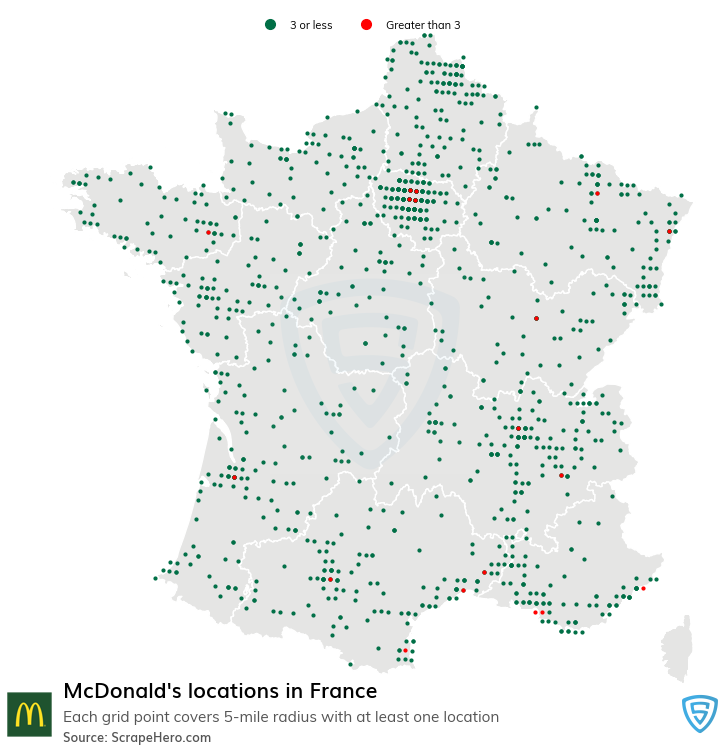 McDonalds Store locations in France