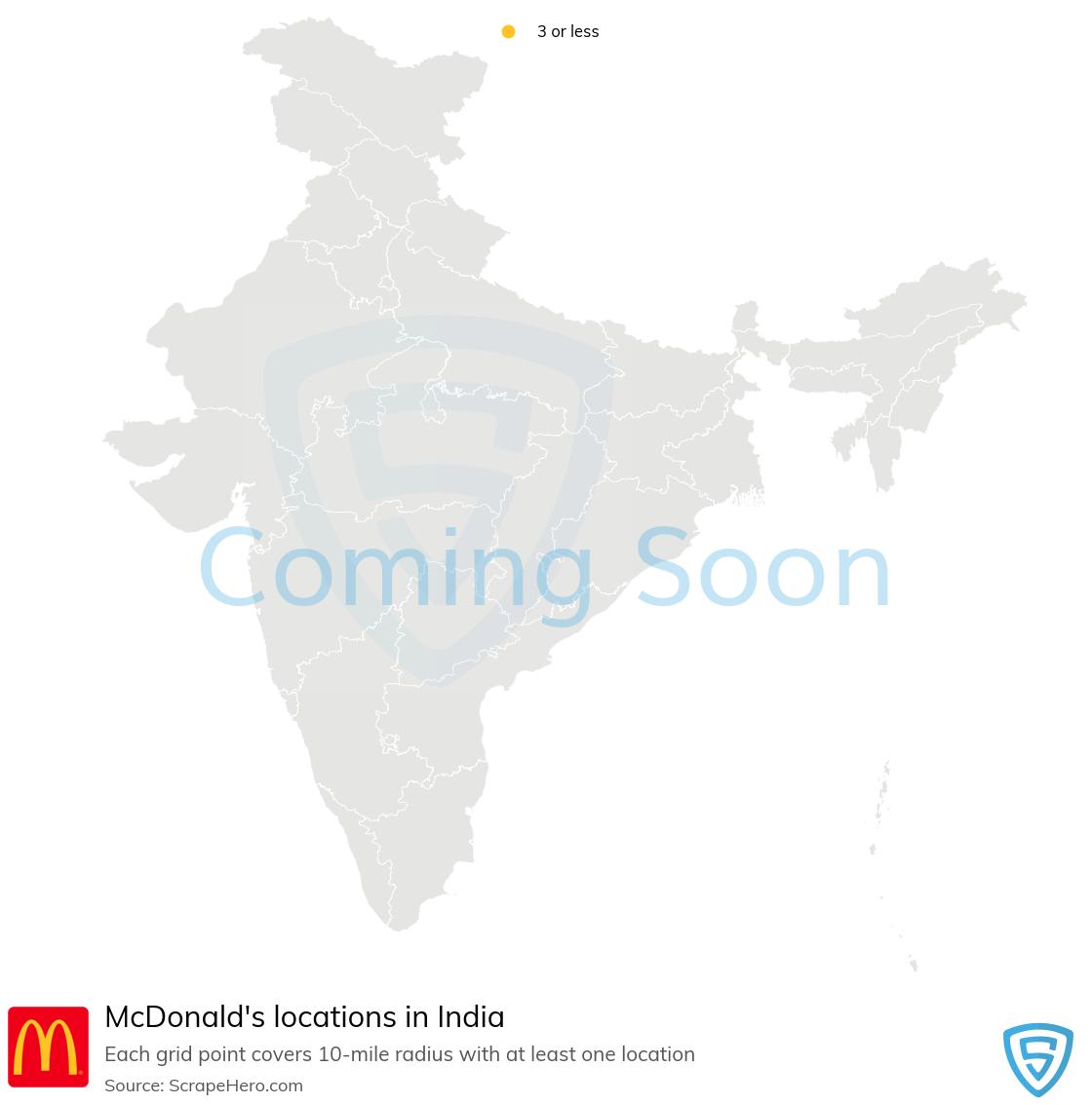 McDonalds Store locations in India