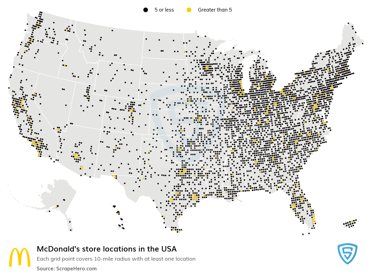 McDonald's Store locations in the USA