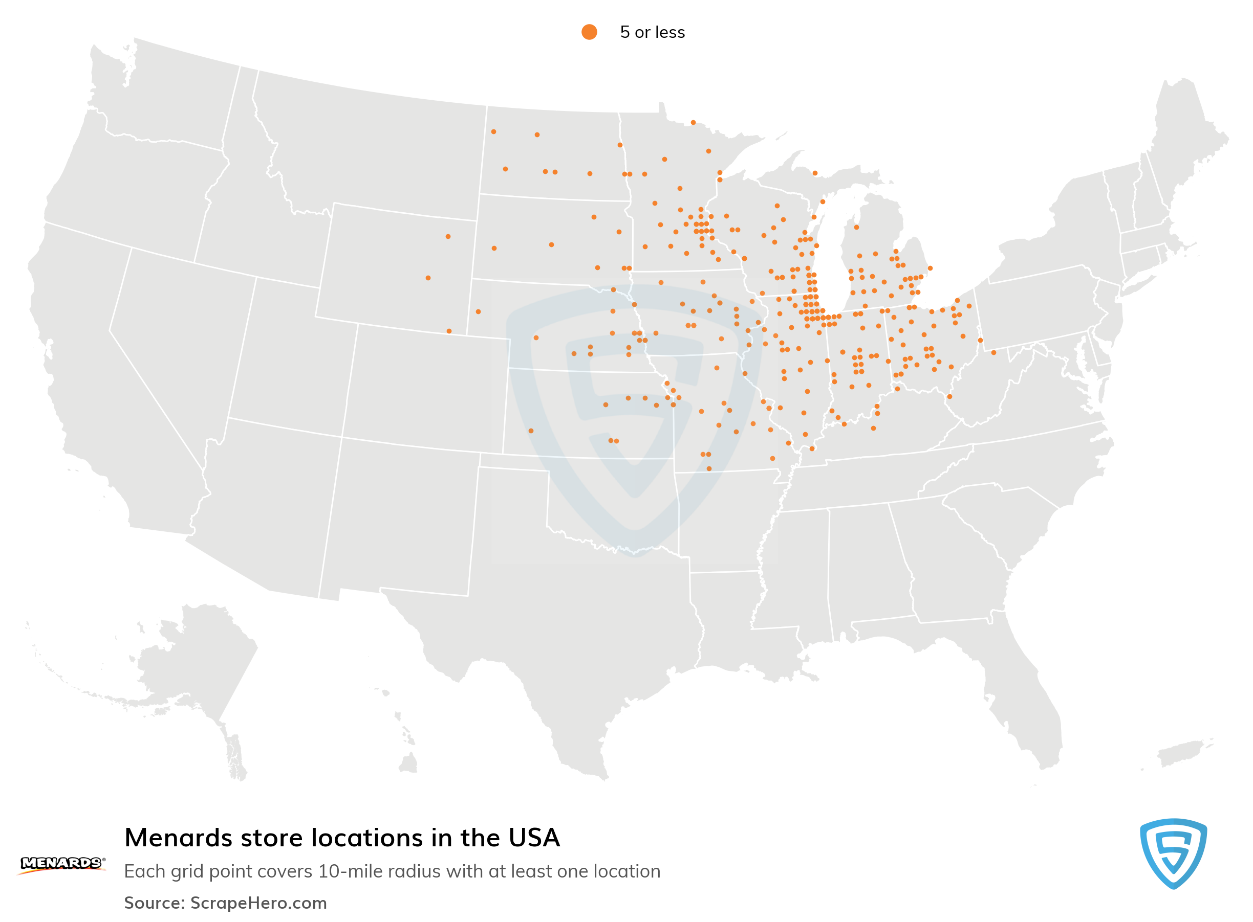 Map of Menards locations in the United States in 2021