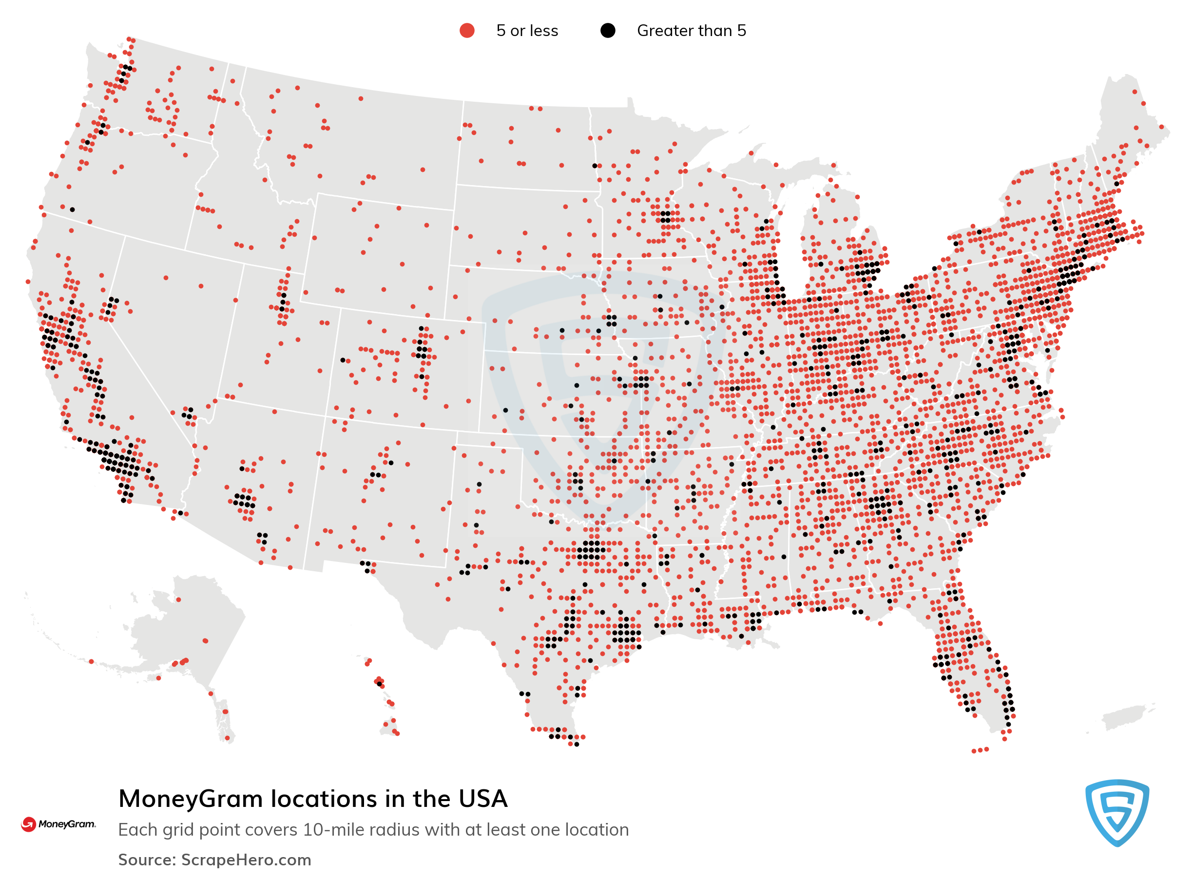 Large Map of MoneyGram locations in the USA