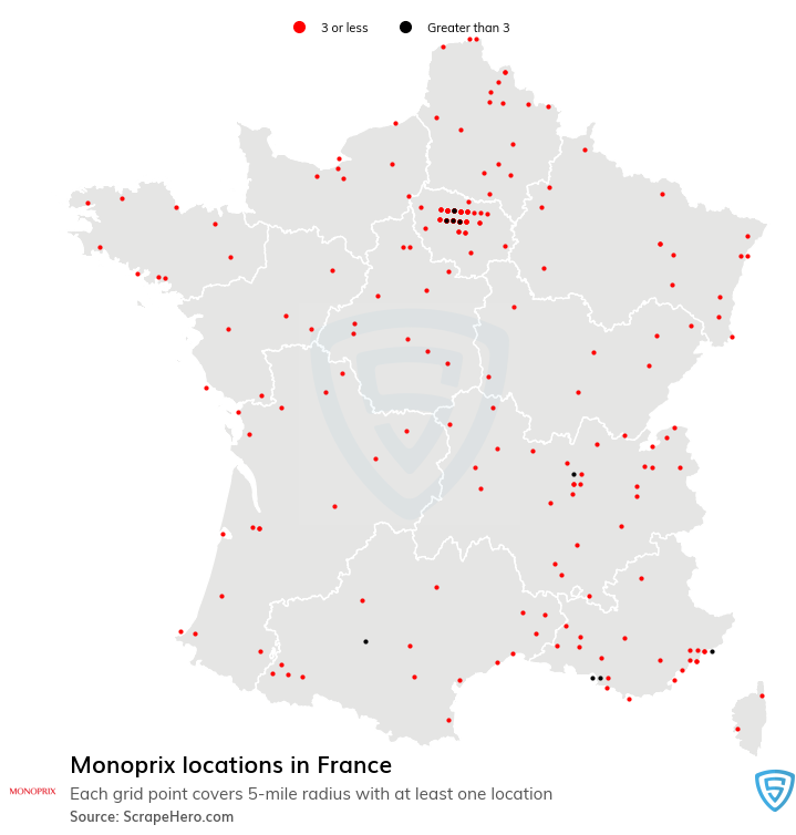 Monoprix Store locations in France