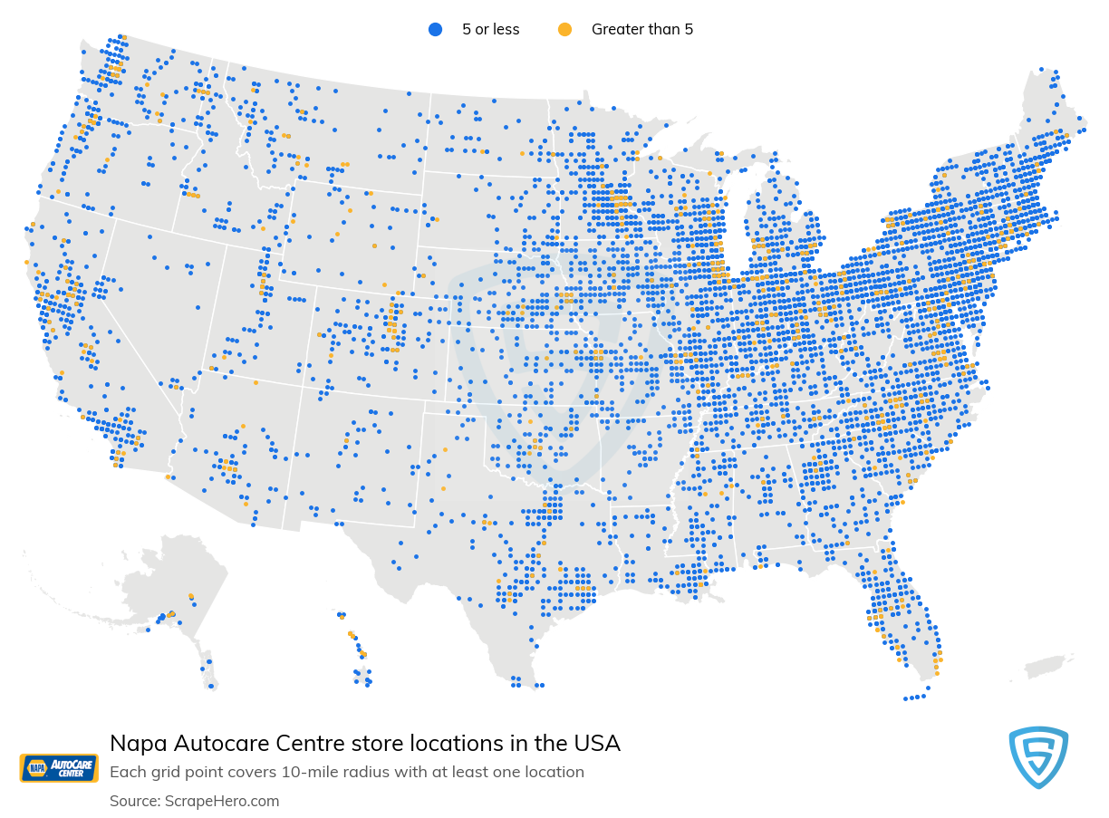 Napa Autocare Centre Store locations in the USA