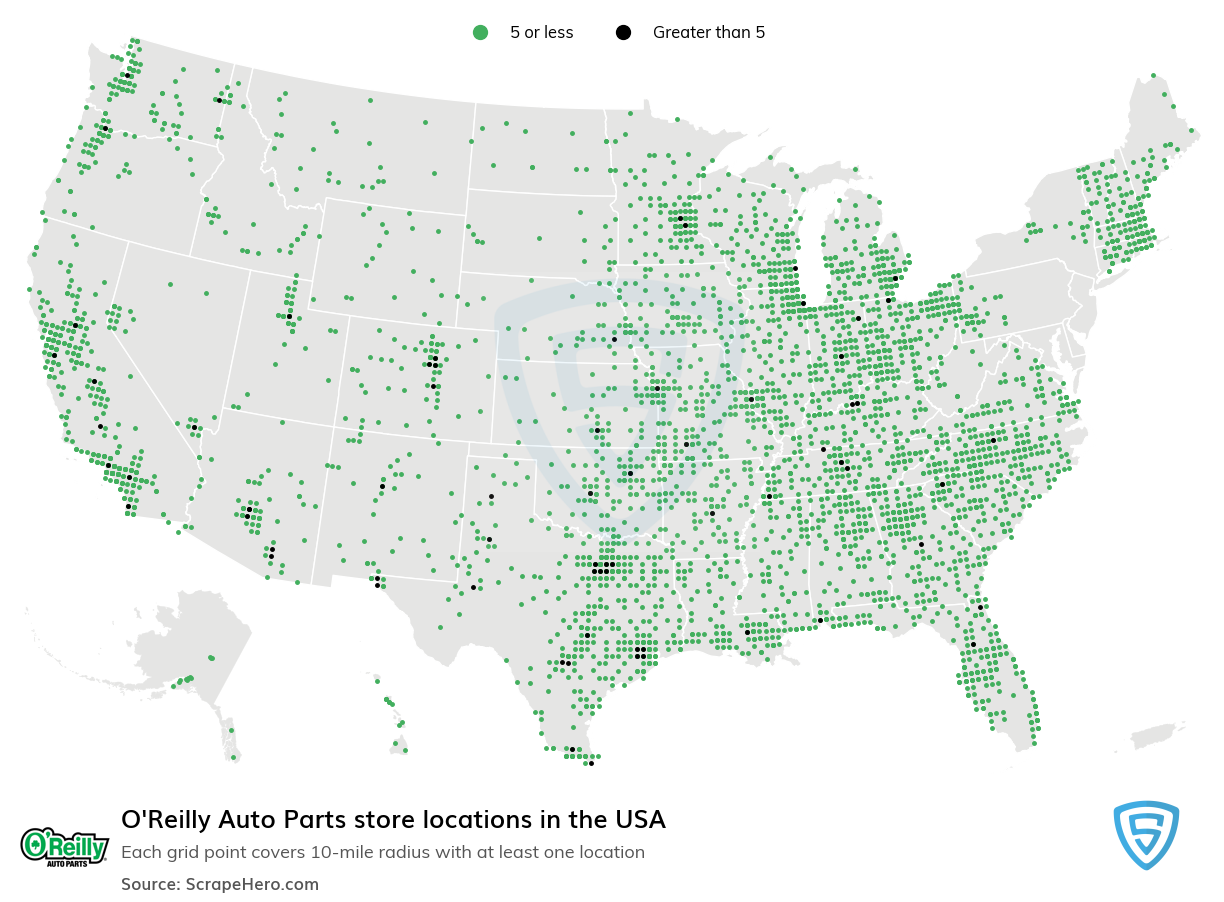 O'Reilly Auto Parts Store locations in the USA
