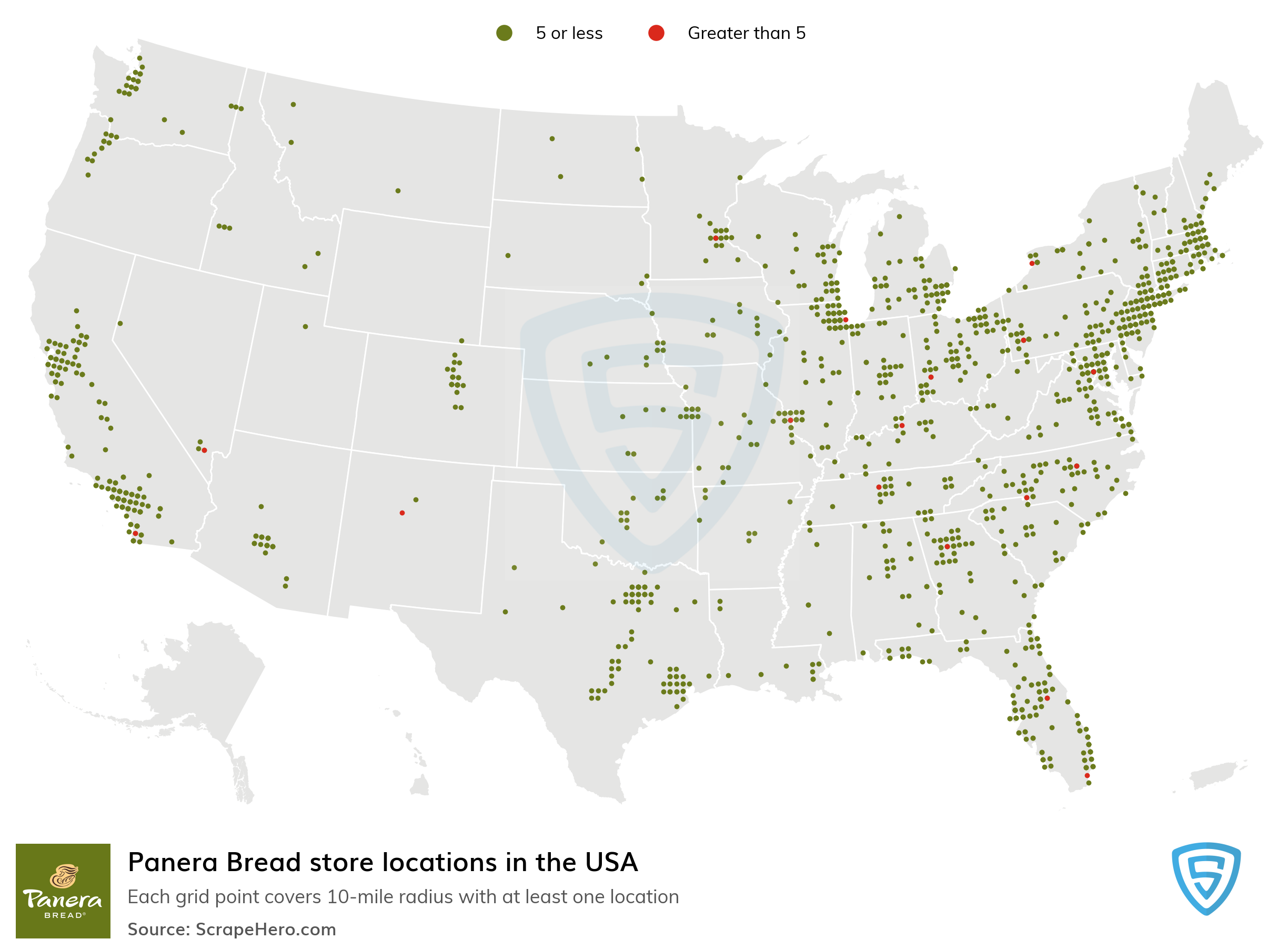 Map of Panera Bread locations in the United States in 2021