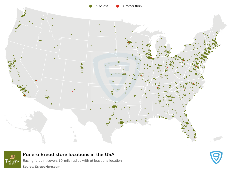 Panera Bread Store locations in the USA