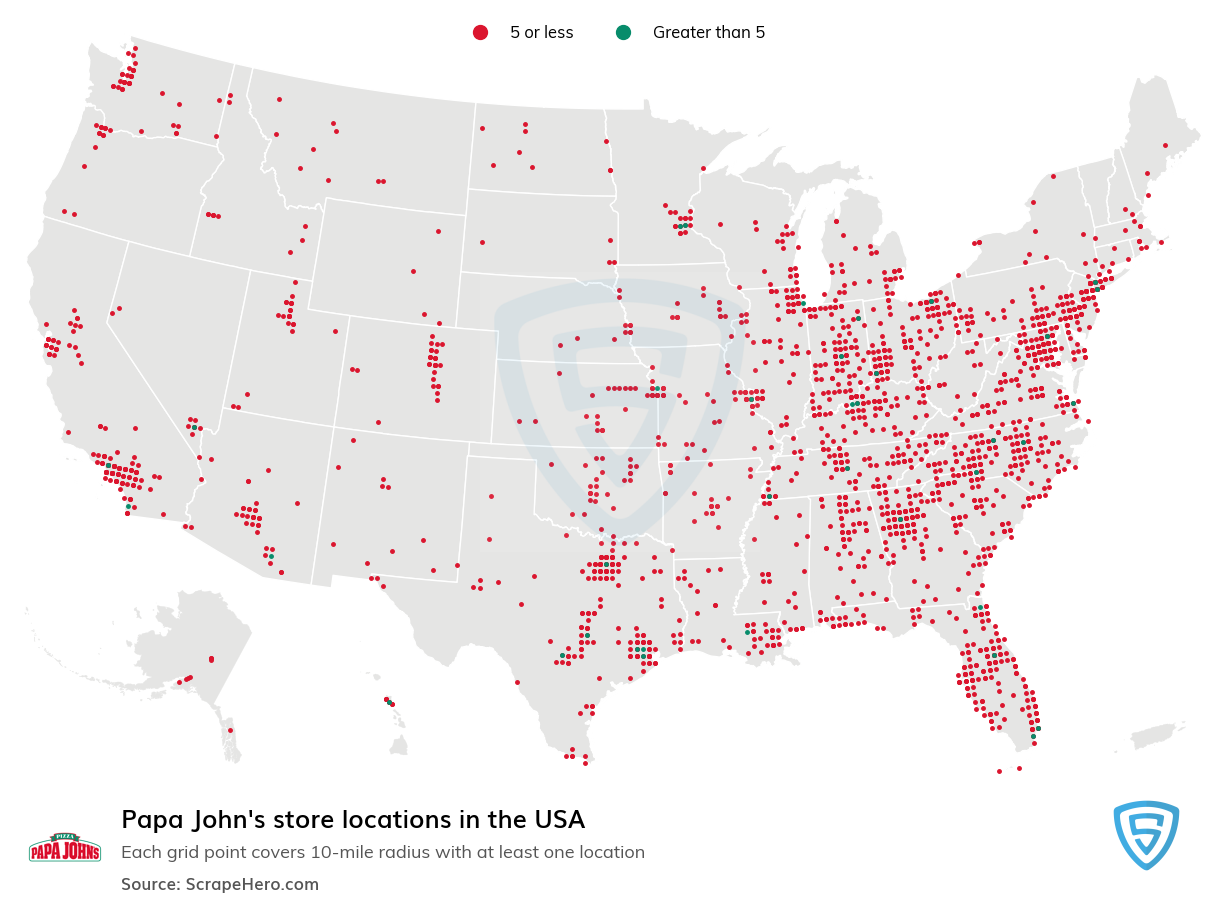 Papa John's Store locations in the USA