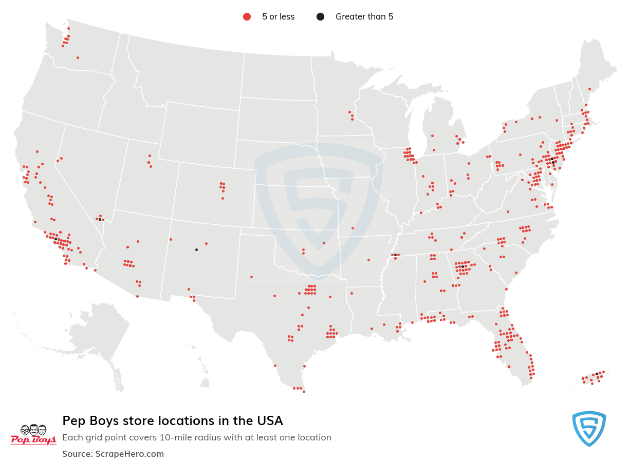 Pep Boys Store locations in the USA