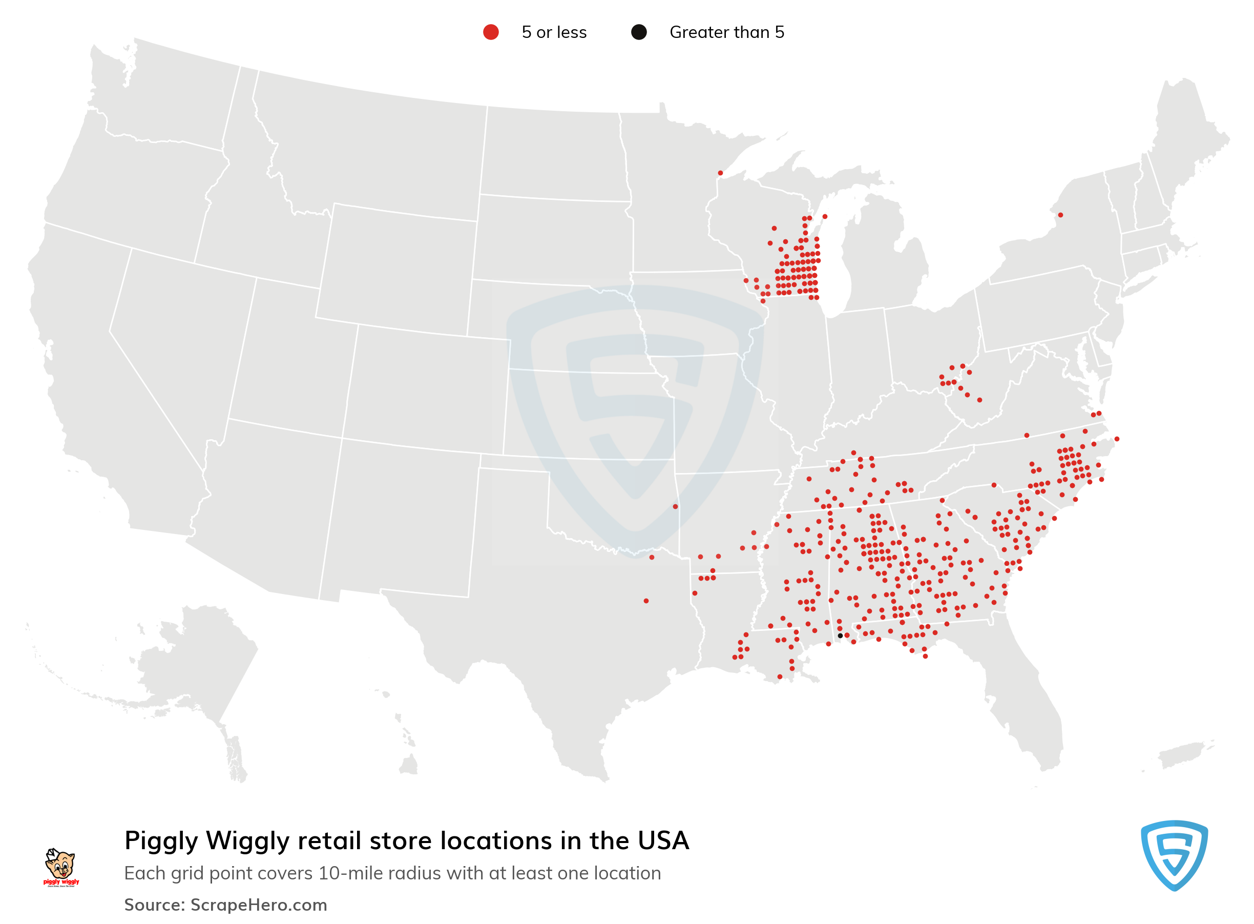 Map of Piggly Wiggly locations in the United States in 2021