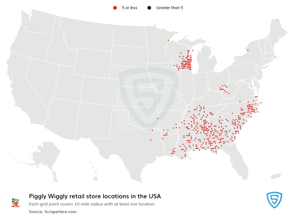 Piggly Wiggly Store locations in the USA