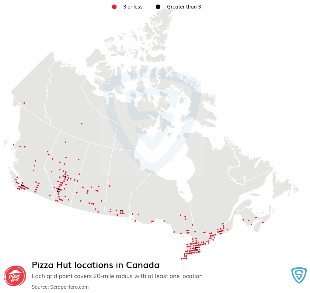 Pizza Hut Store locations in the Canada