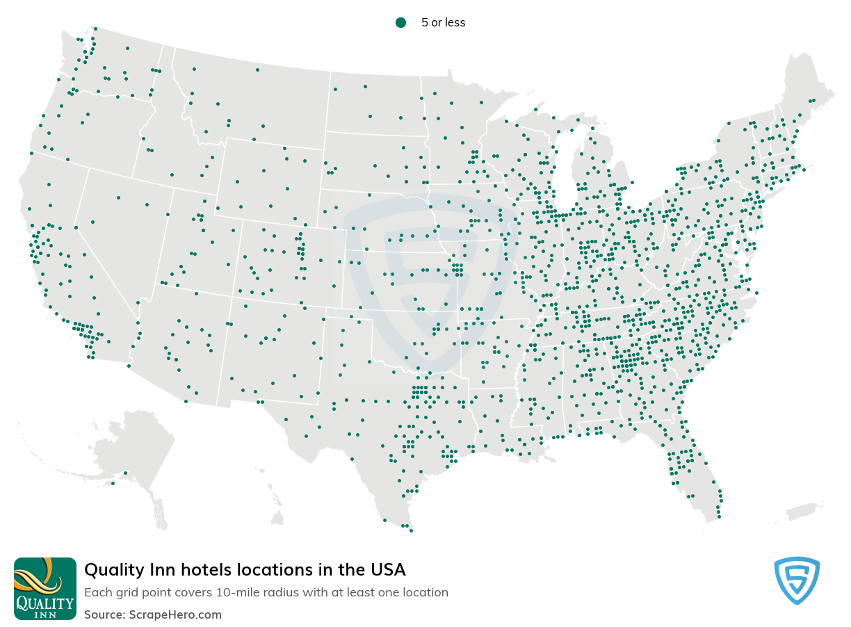 Quality Hotels locations in the USA