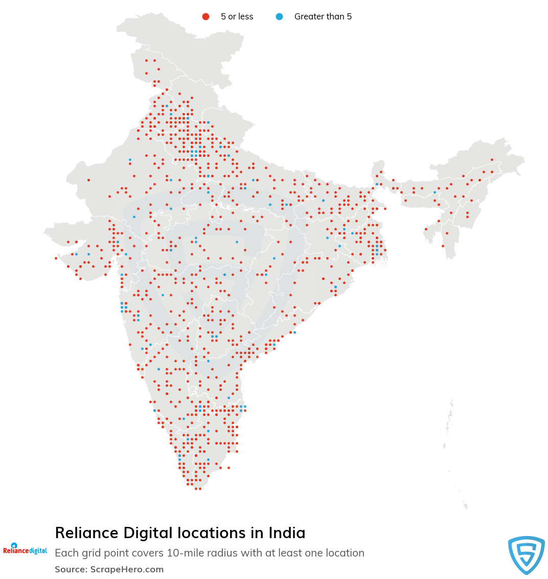 Map of Reliance Digital locations in India in 2021
