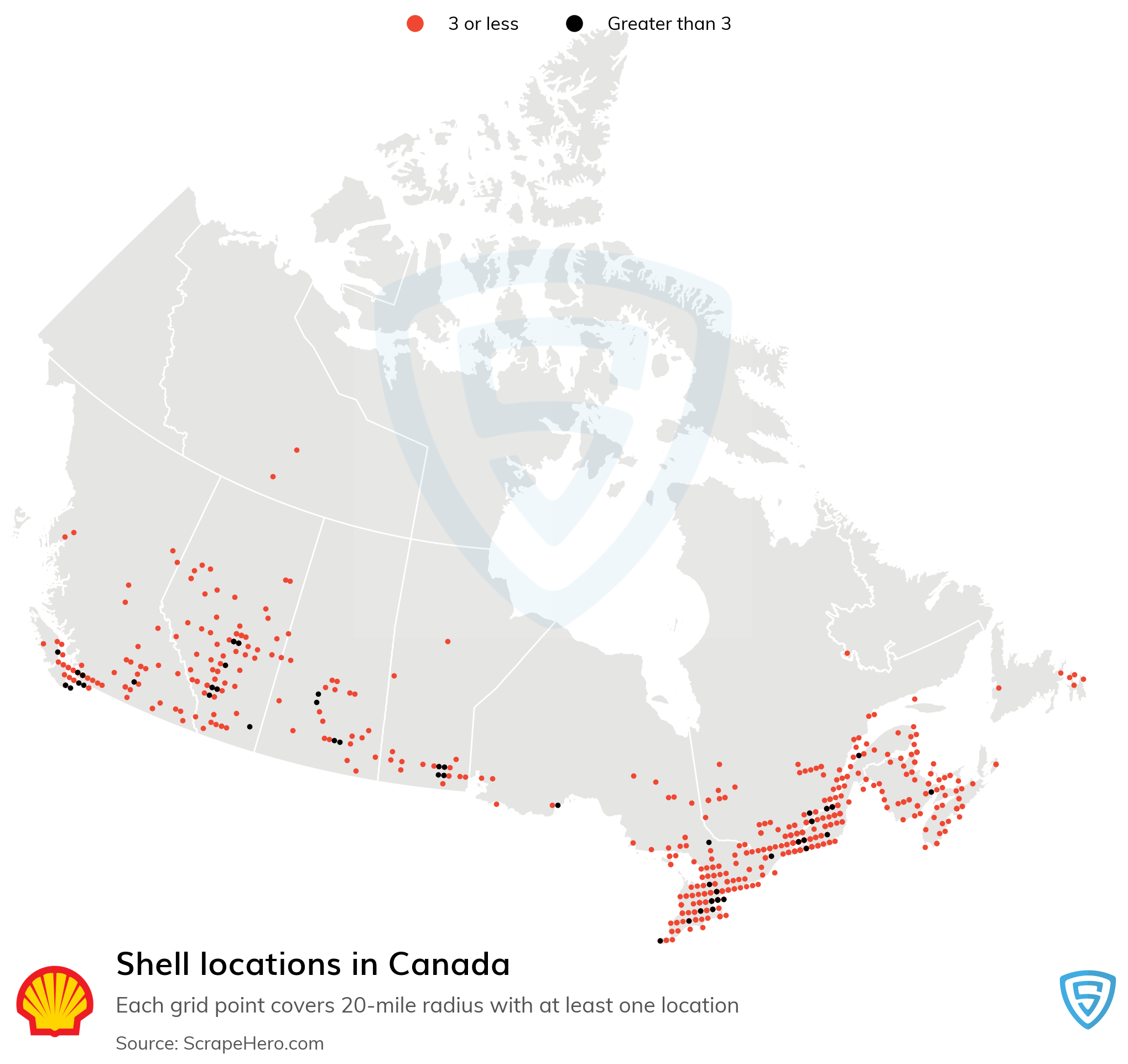 Map of Shell locations in Canada in 2021
