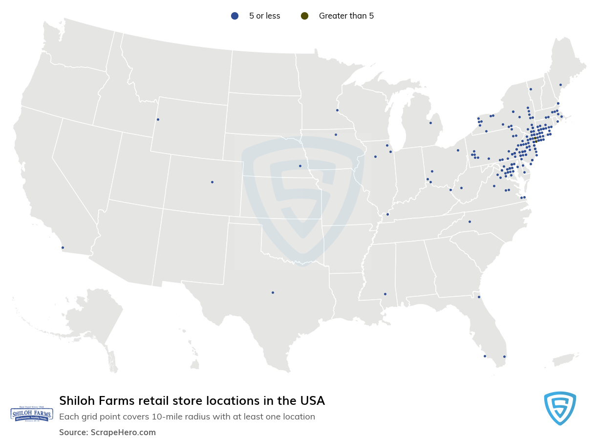 Map of Shiloh Farms locations in the United States in 2021