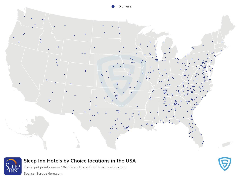 Sleep Inn Hotels locations in the USA