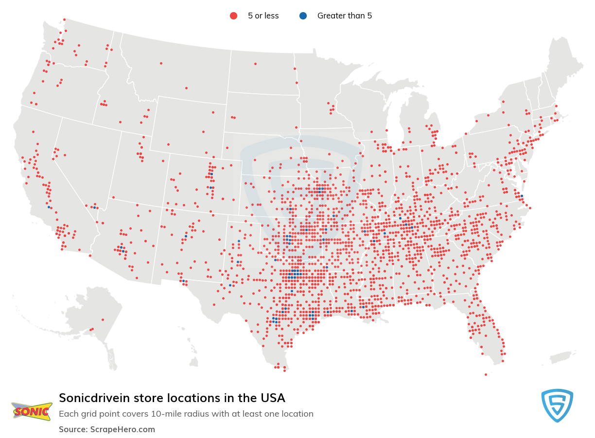 Sonicdrivein Store locations in the USA