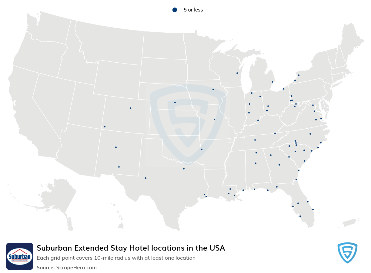 Suburban Extended Stay Hotel locations in the USA