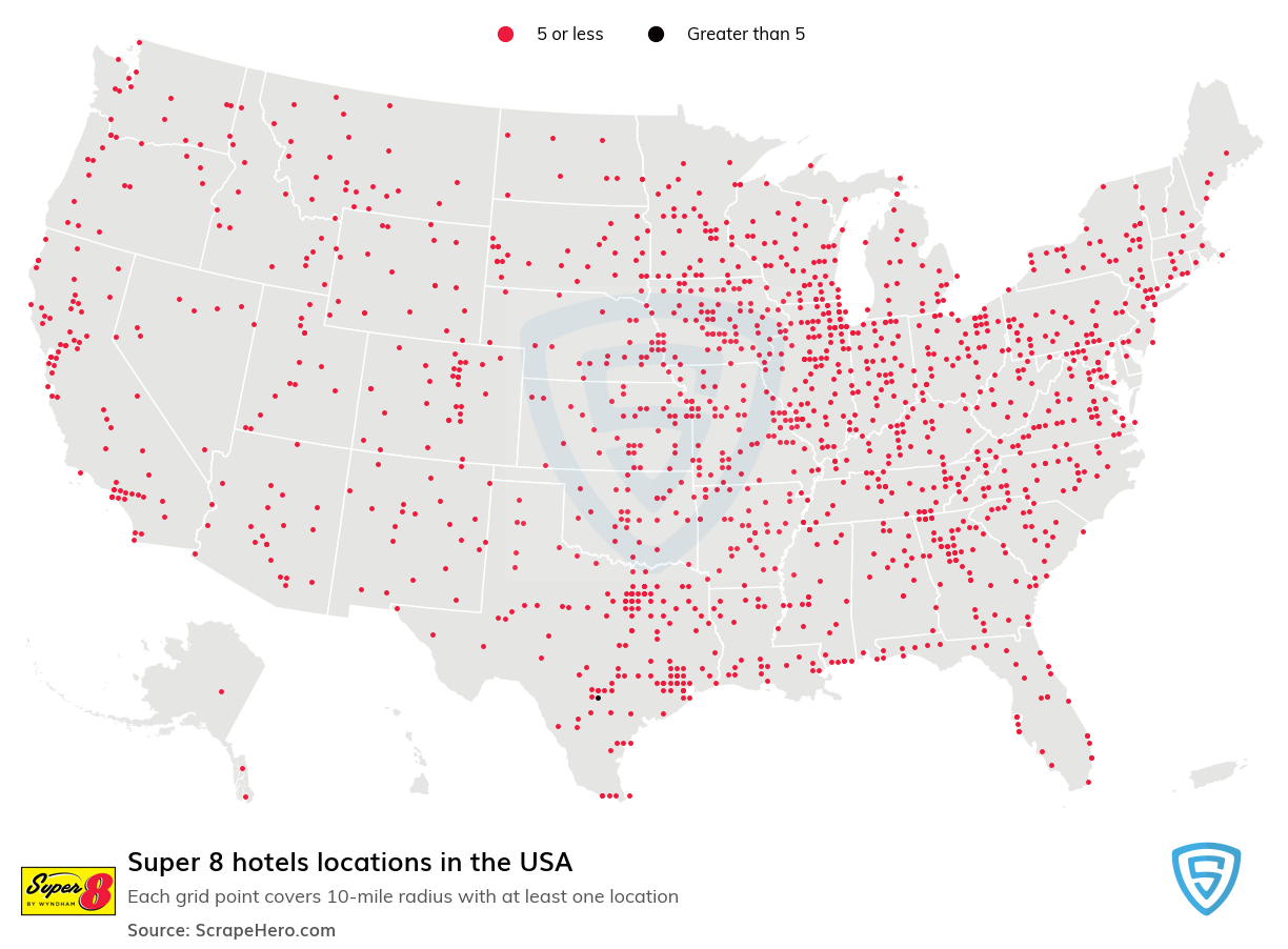 Super 8 Hotels locations in the USA