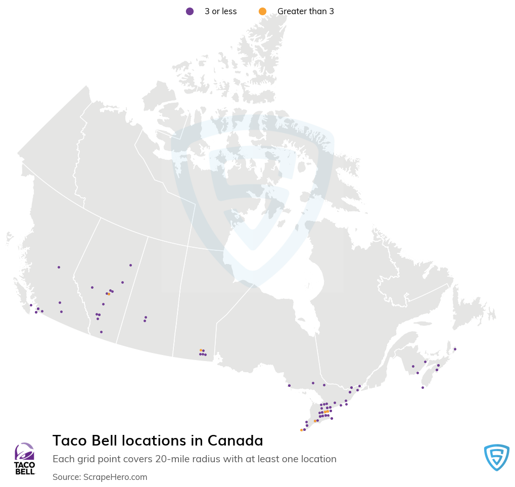 Taco Bell Store locations in the Canada