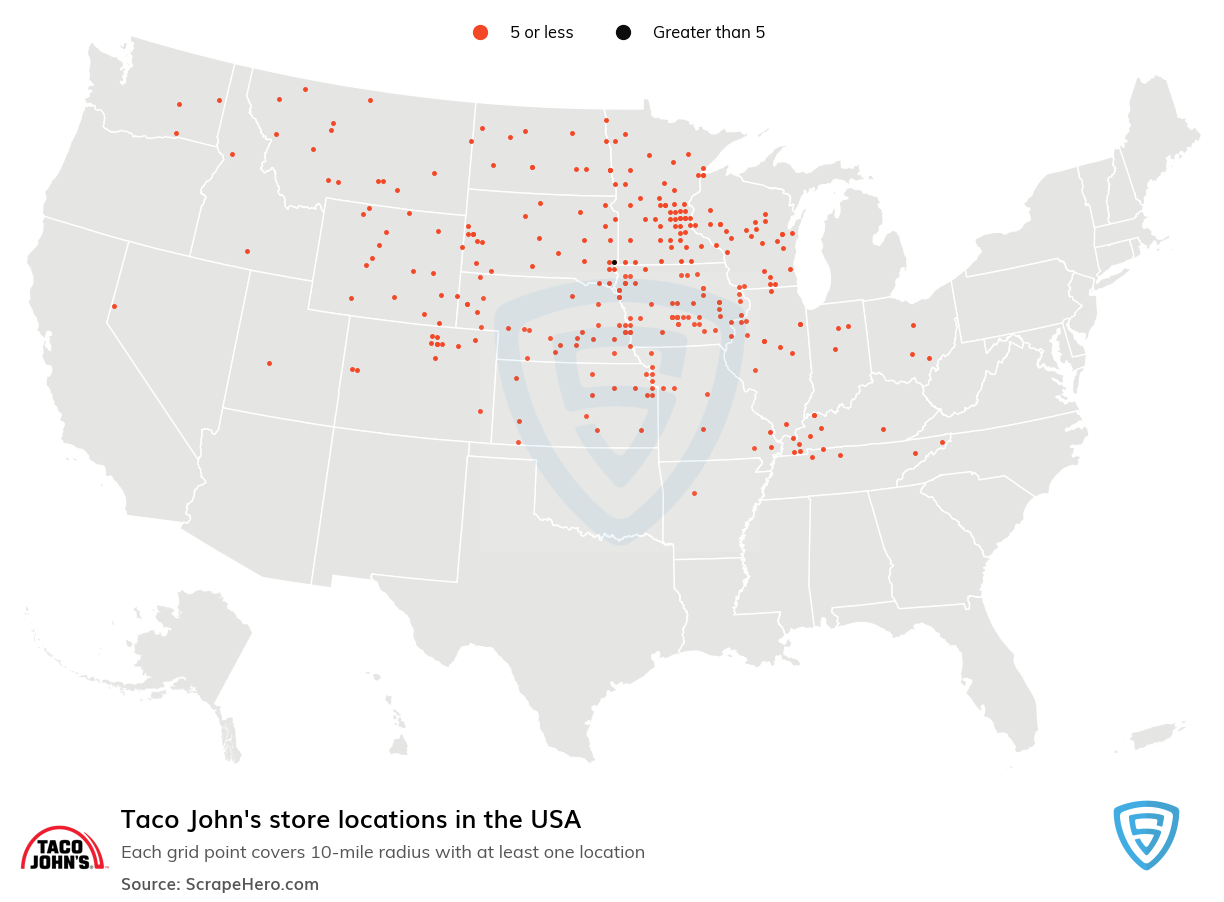 Taco John's Store locations in the USA