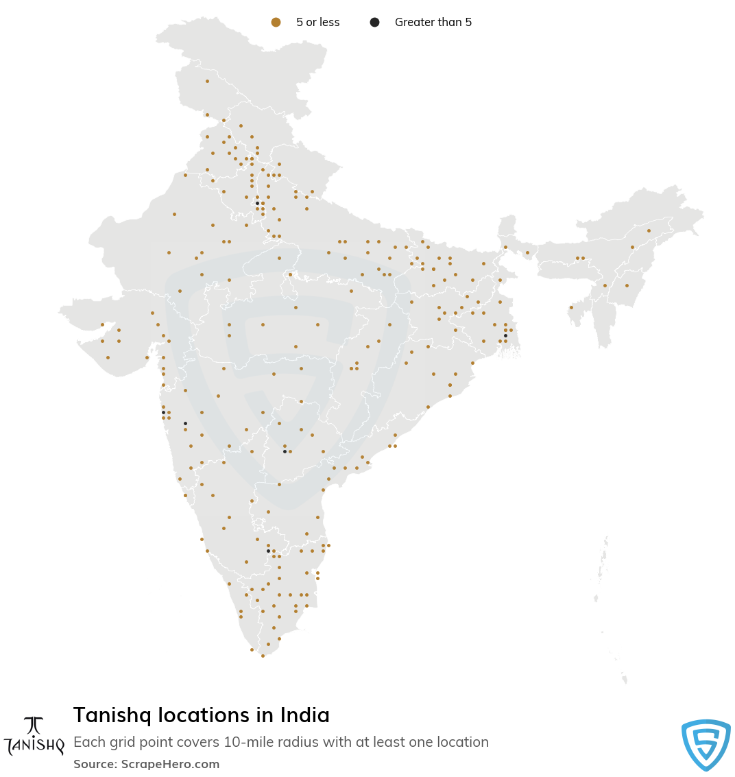 Map of Tanishq locations in India in 2021