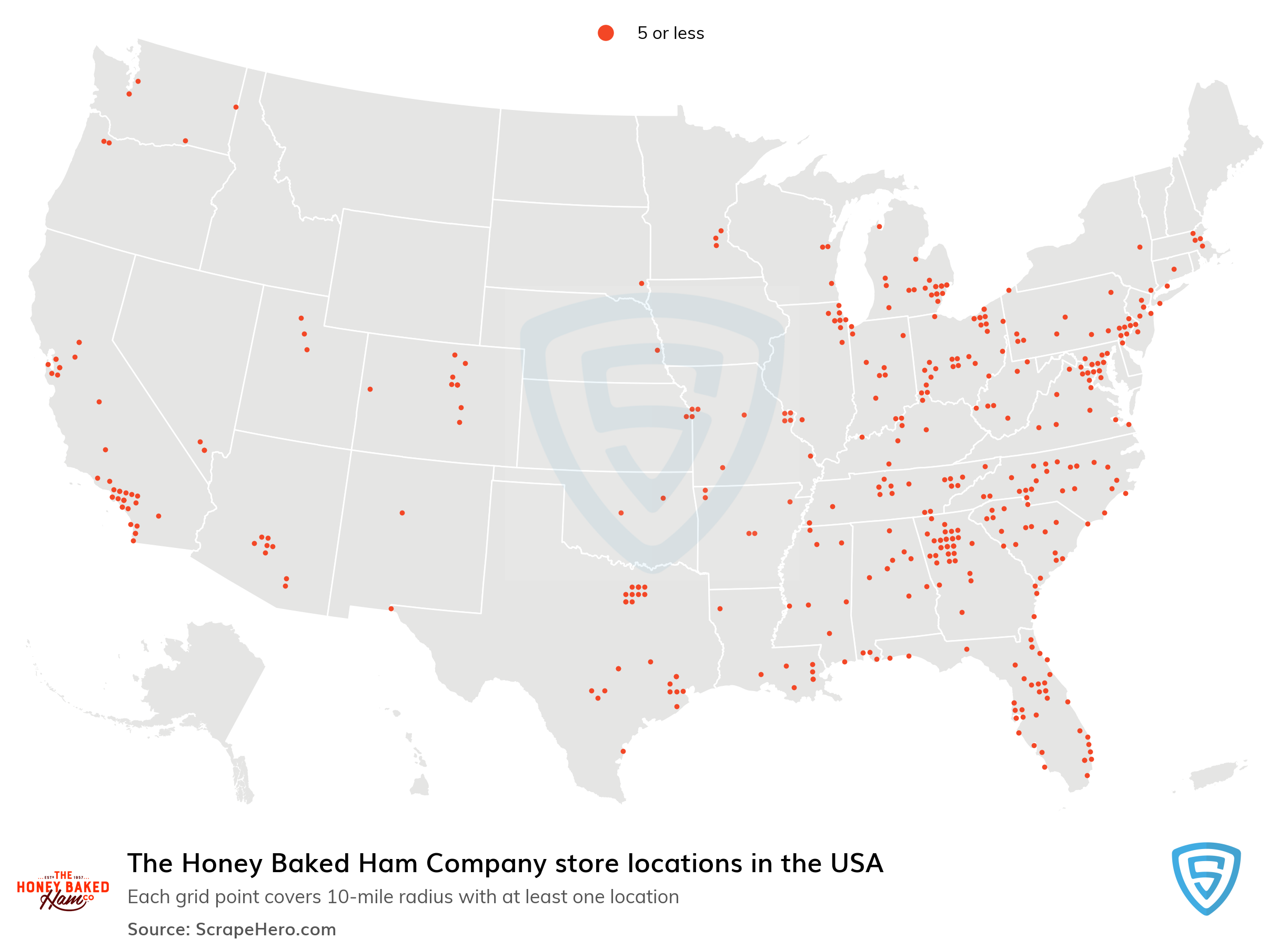 Map of The Honey Baked Ham Company locations in the United States in 2021