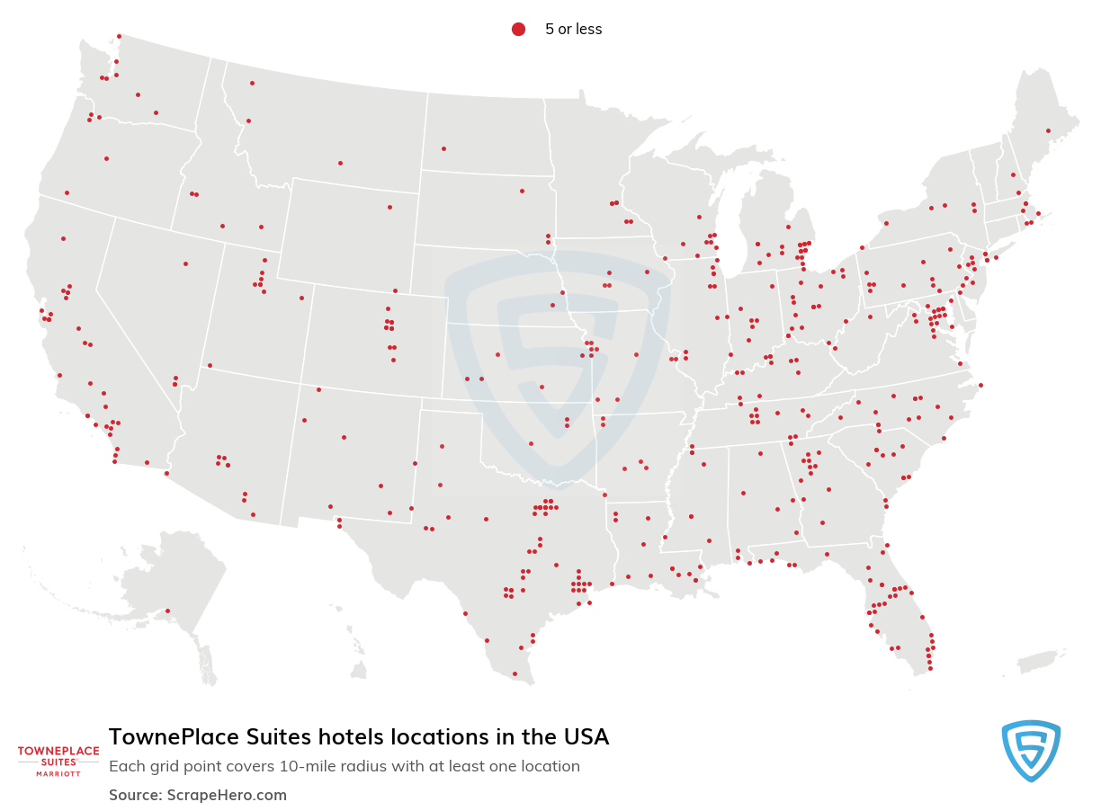 TownePlace Suites Hotels locations in the USA