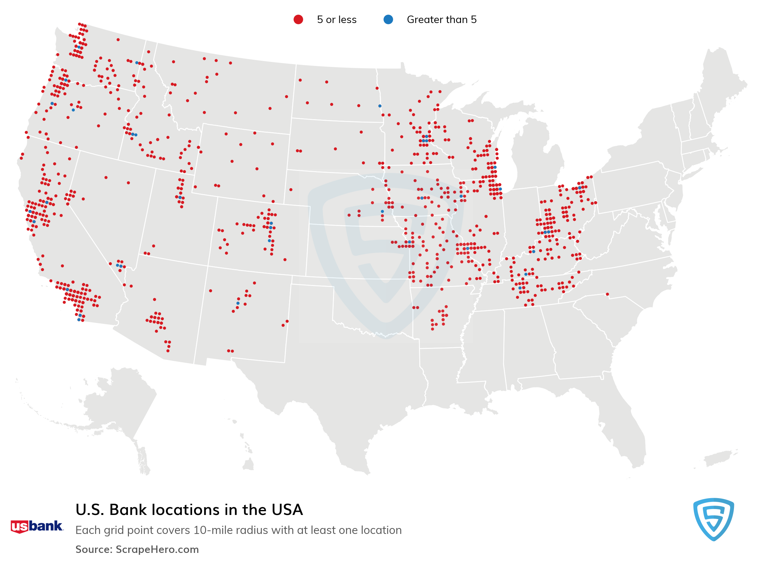 Map Of All Us Bank Locations List of all U.S. Bank locations in the USA | ScrapeHero Data Store