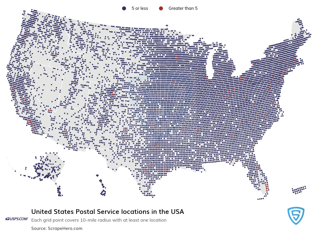 United States Postal Service locations in the USA