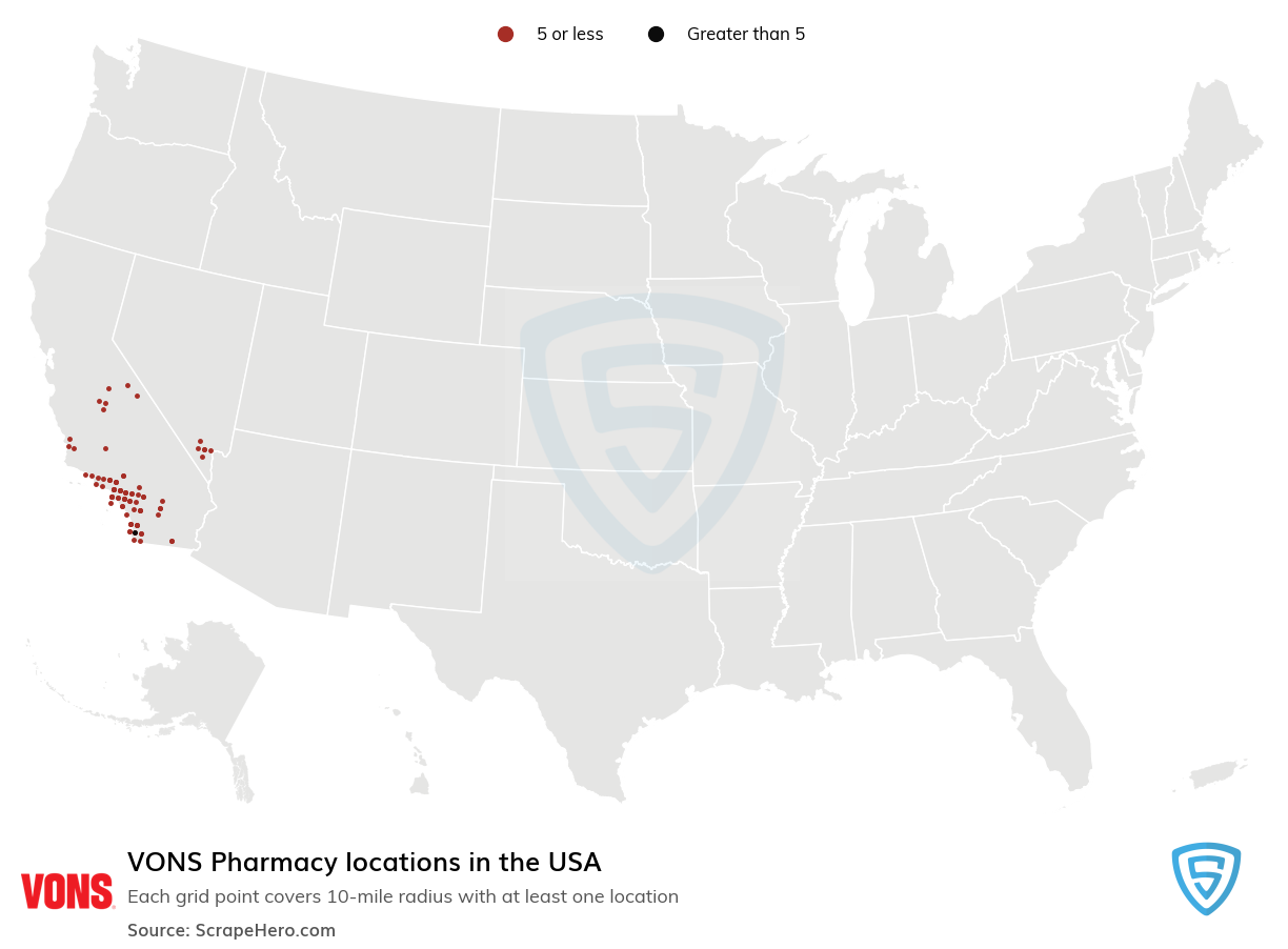VONS Pharmacy locations in the USA