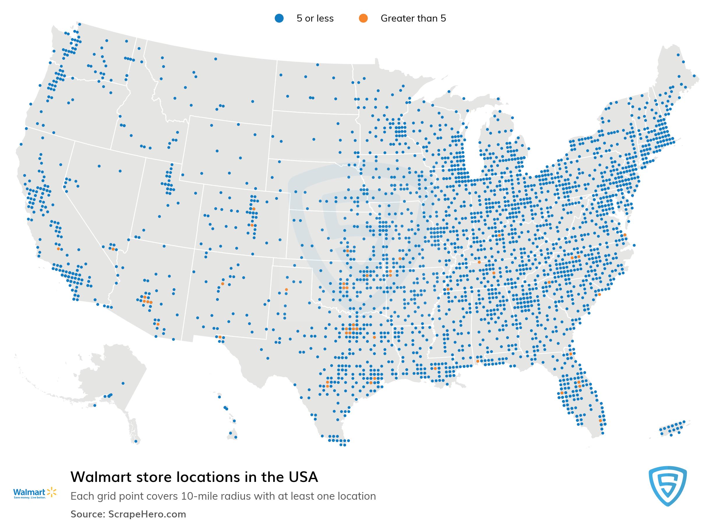 Walmart Store Locator Map List of all Walmart store locations in the USA | ScrapeHero Data Store