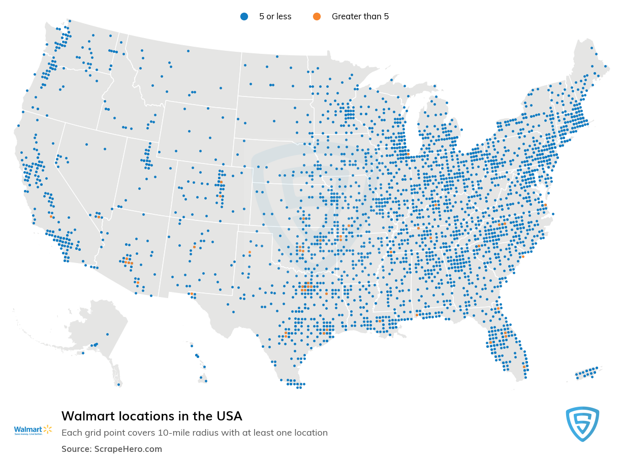 Walmart Store locations in the USA