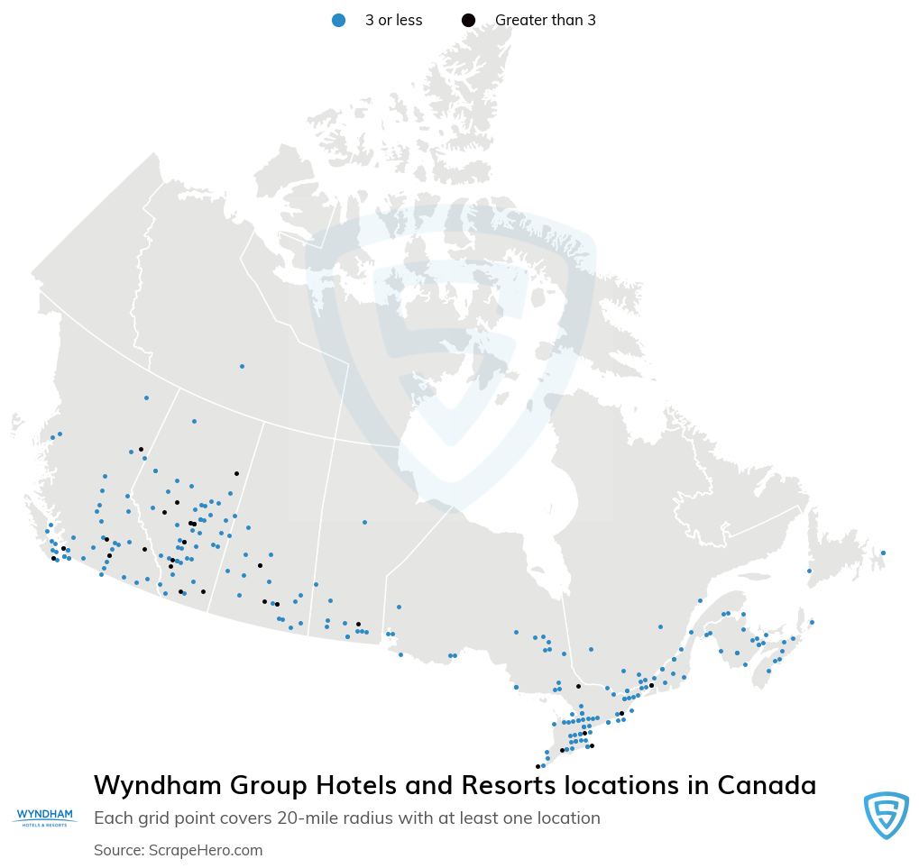 Wyndham Group Hotels and Resorts locations in the Canada