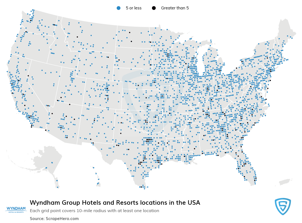 Wyndham Group Hotels and Resorts locations in the USA