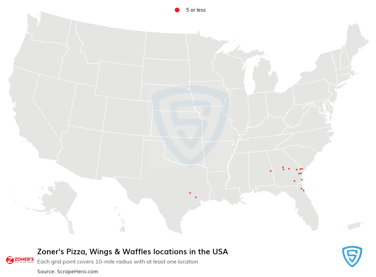 Zoner's Pizza, Wings & Waffles locations