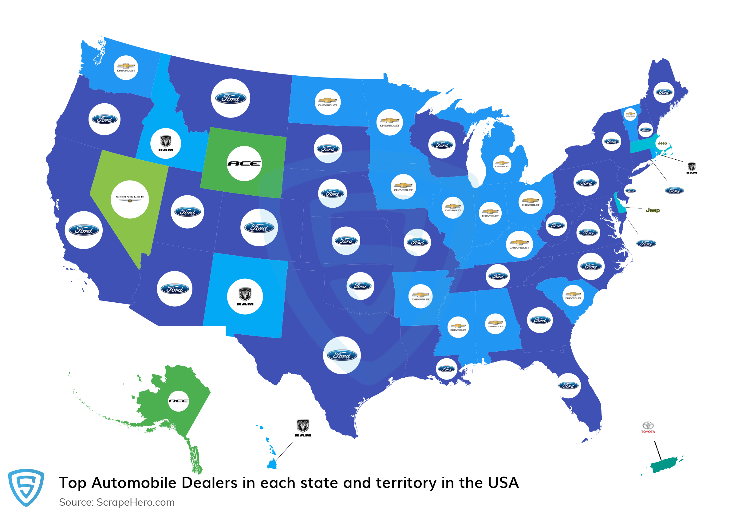 Map of top automobile dealers in each state and territory in the United States in 2021