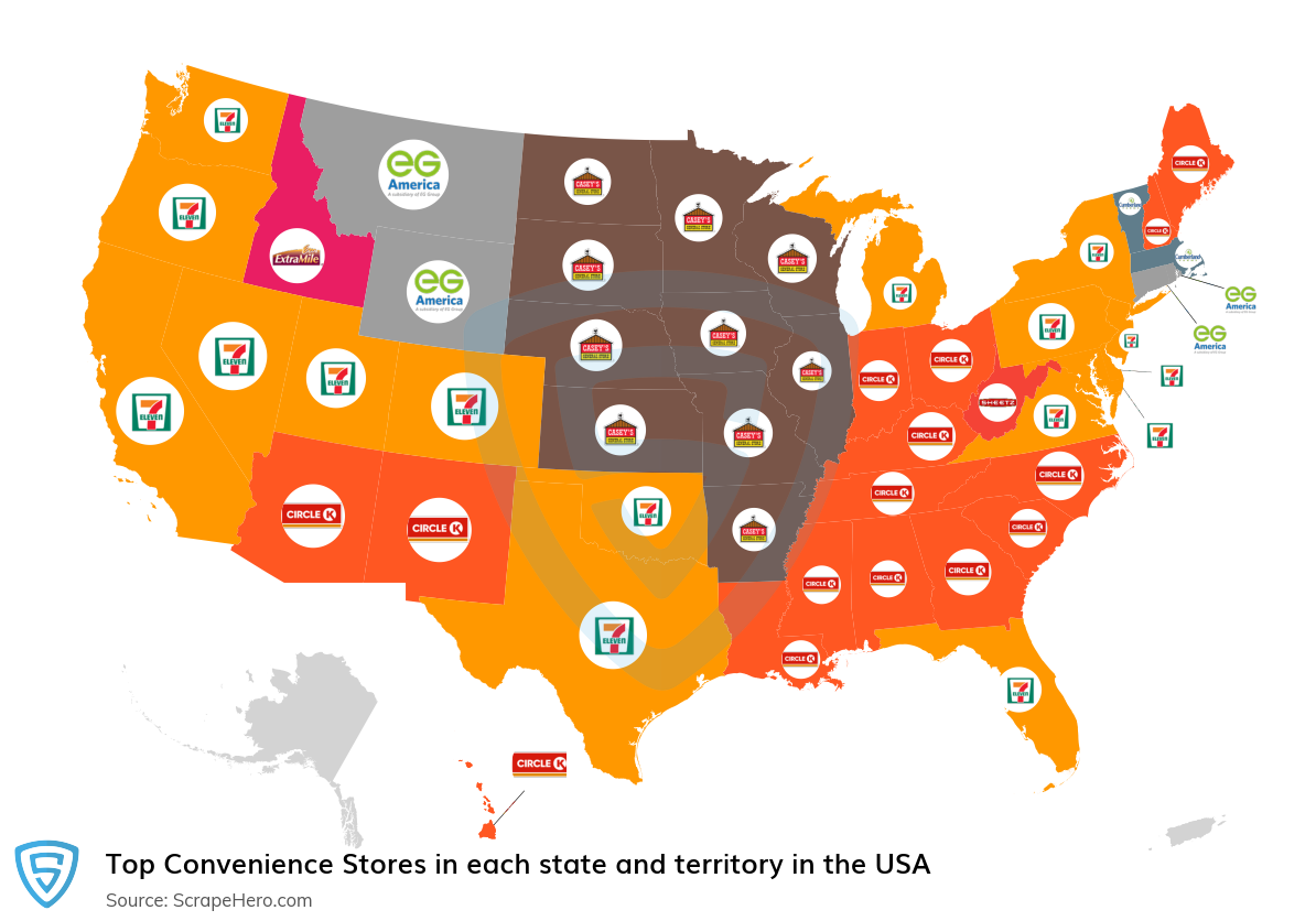 Map of top convenience stores in each state and territory in the United States in 2021
