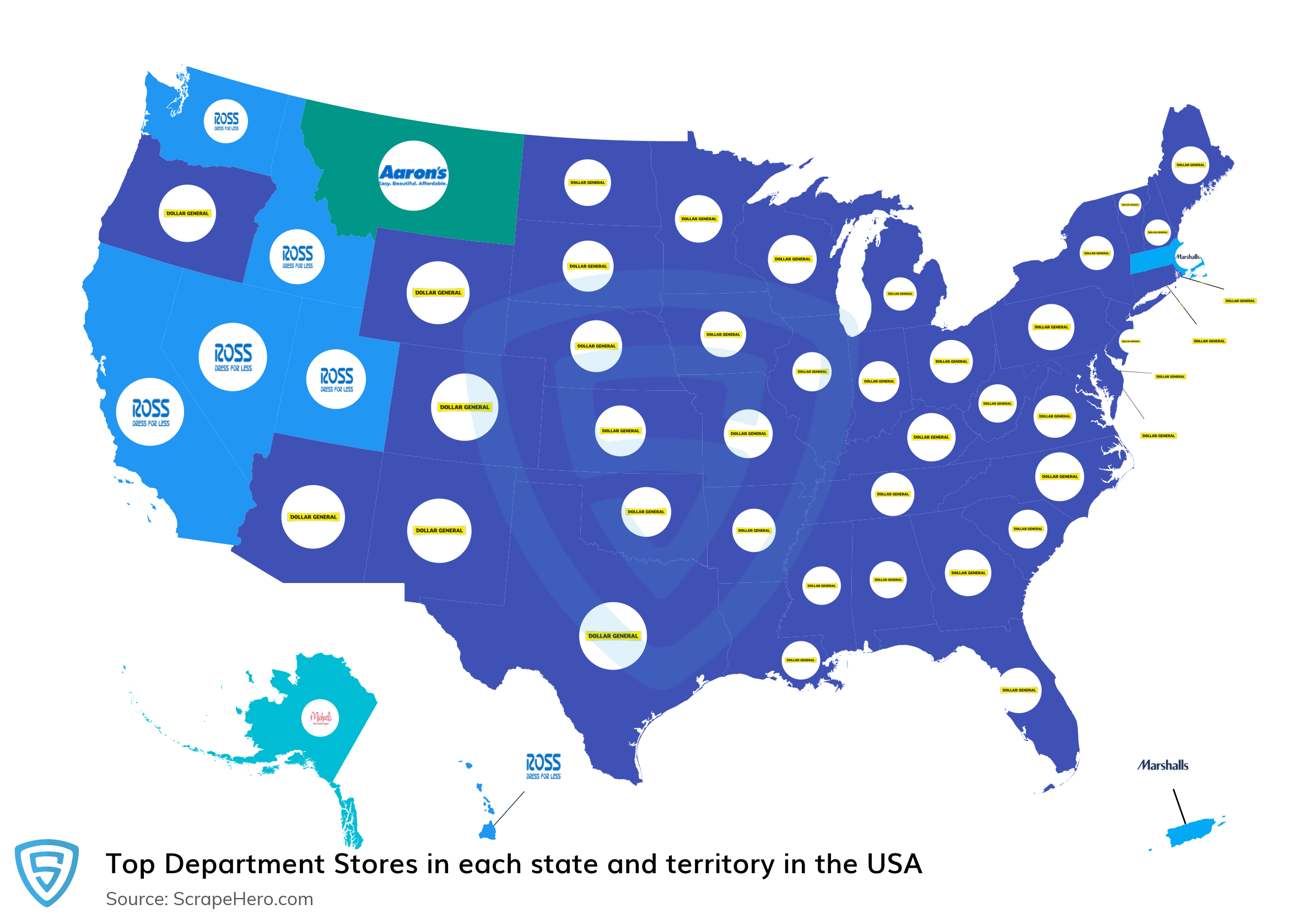Map of top department stores in each state and territory in the United States in 2021