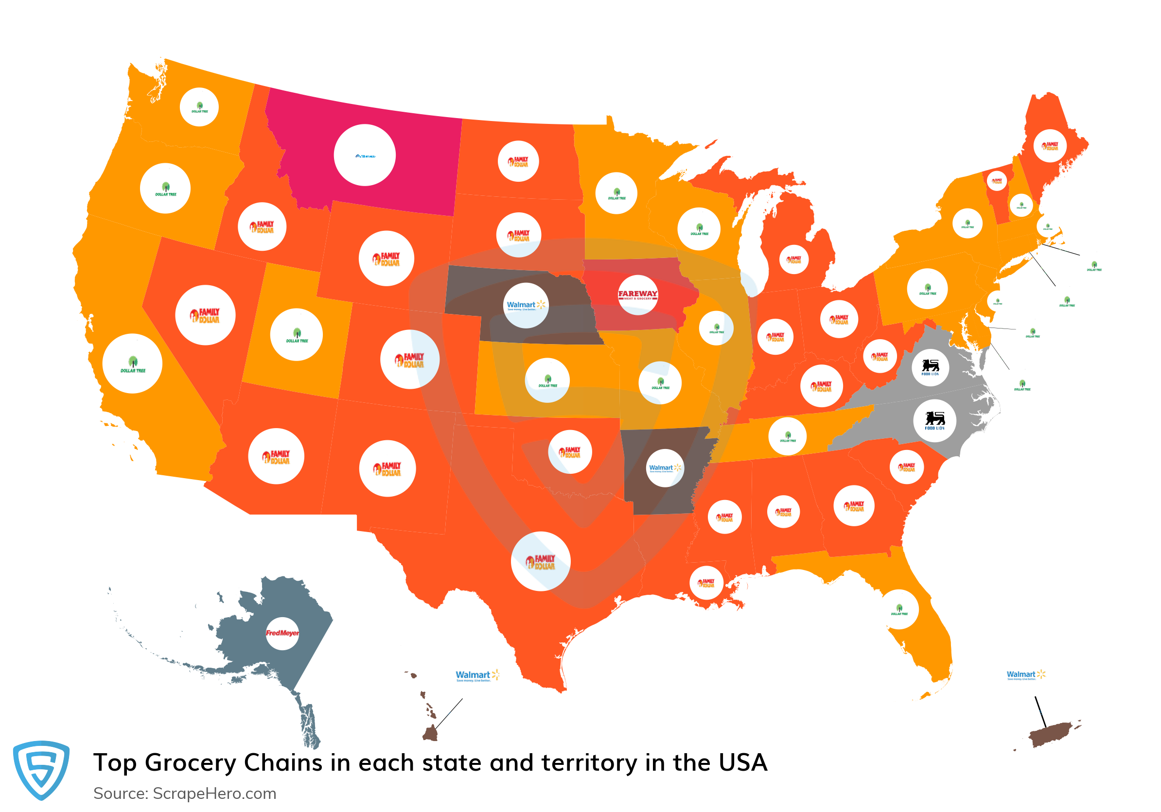 Map of top grocery chains in each state and territory in the United States in 2021