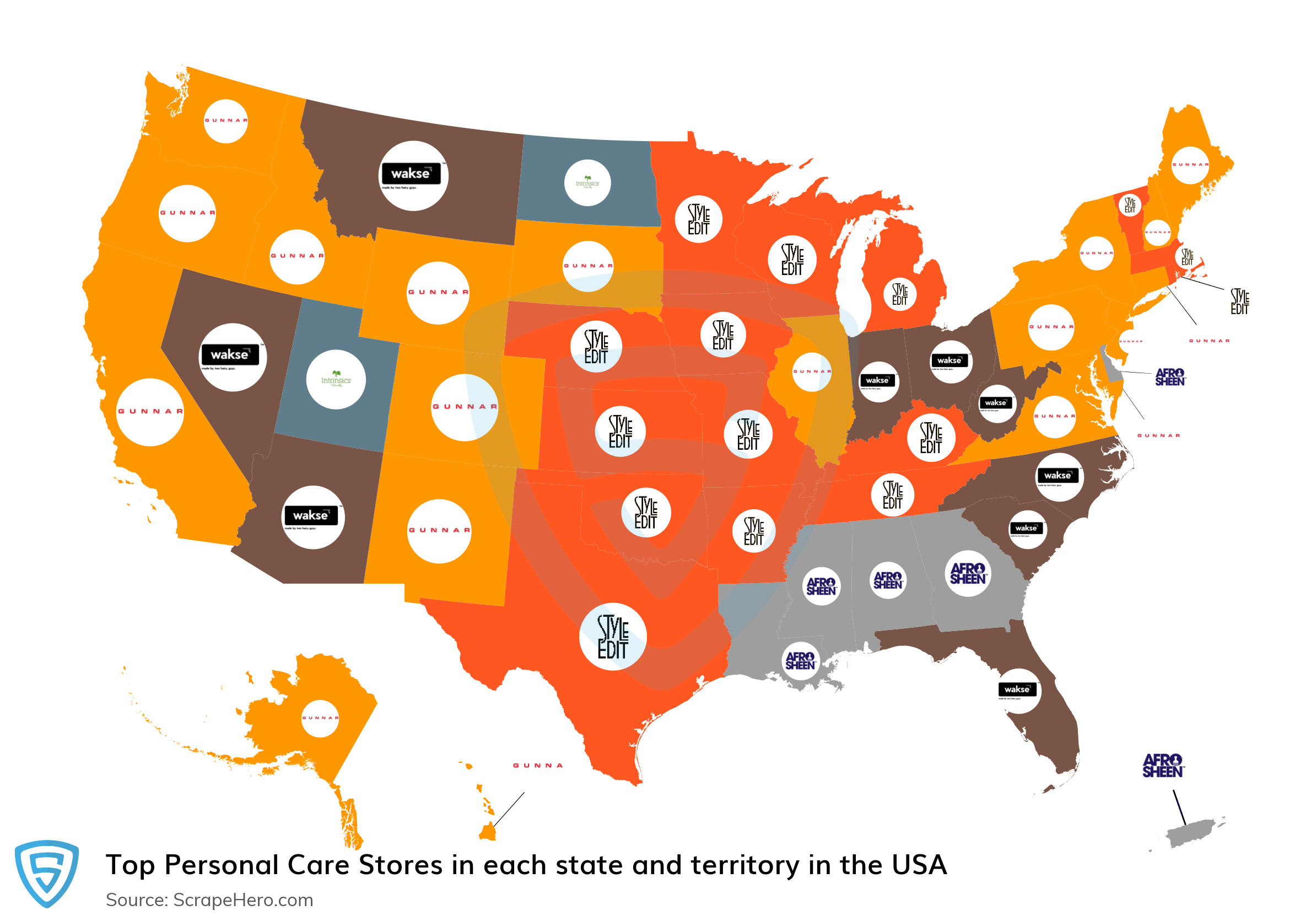 Map of top personal care stores in each state and territory in the United States in 2021